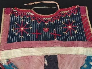 Central-Asia Turkmen-Yomud ethnic traditional baby dress made of nice silk on the silk embroidered children costume Circa-1900-20 Size - Height : 39 cm - Width : 35 cm - Lenght : 86  ...