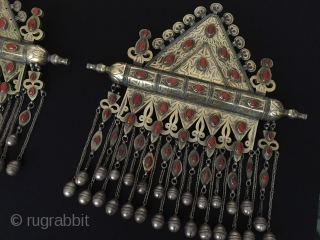 Central-Asia Rare - A pair of Turkmen-tekke collector ethnic tribal silver necklace-pendant (Tumar) Art-jewelry and for decorative at home When the girls of turkmen are married they use it on their necklace  ...