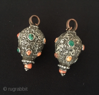 Central - Asian Antique pair of Uzbek traditional silver pendant with original old coral and turquoise stone. Circa - 1900 or earlier Size - Height : 5 cm - Circumference : 8.5  ...