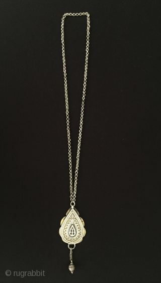 Central-Asia Ethnic traditional from Kazak silver pendant with chain very fine handcrafted fire gilded fine silver old tassel (chain can be shortened) Circa - 1900 Size - 