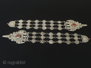 Central-Asia Turkmen-Ersary yomud antique tribal silver haddress on the hair earrings original ethnic traditional jewelry Circa-1900 Length'38'-Width'6.5'cm-Weight:192gr Thank you for visiting my rugrabbit store!