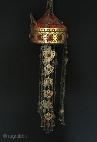 Central-Asia A beautifull Ethnic Turkmen traditional collector silver tassel hat fine gilded with cornalian and turquoise Best condition ! Circa - 1920 - 30 Size - with the chain on top of  ...