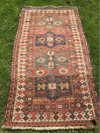 Great Caucasian rug from Karabagh probably made by Shahsavan!! Deep from the 19th century. Size: 220 cm x 112 cm approx. Some problems on the sides and lower pile in the lower  ...