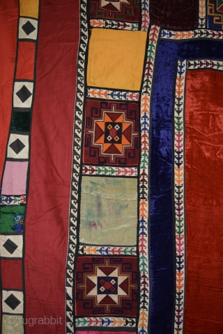 Central Asian Patchwork Korak Hanging Cotton/Silk, 69 x 66 inches, Probably 1960s. Bought in Kabul early 70s