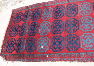 Kirgiz Carpet, Central Asia, Wool, 54 x 126 inches, Wear at one end, a few holes and other damage, Nice wool and colors