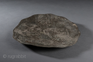 """ISL_0098 Afghanistan Tinned Copper Magic Dish, Late 19th/Early 20th Century, 11"""", Difficult to photograph but an interesting object. The base metal is copper which has been given a thin coating of  ..."""
