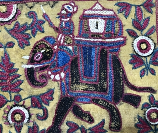 Lovely antique Indian Jain embroidered book cover with elephants Size 29 x 15 cm