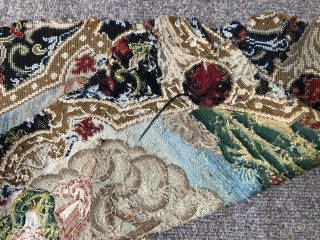 A lovely English 18 c chair back embroidered in silk and wool and some metal thread in grosse and petite pointe stitches. Fresh colours and great condition has probably never been on a  ...