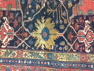 Lovely and Massive Bijar Garrus carpet ca 1880 17 ft 9 x 11 ft 4 (5.41 x 3.45 m) All wool natural dyes heavy but floppy no cracking. One repair detailed other smaller bits but  ...