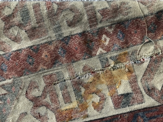 Antique Yomud tent band fragment with silk C s and silk H s.   Mid 19 c or before. One slit that could be tidied up size 172 x 40 cm.  ...