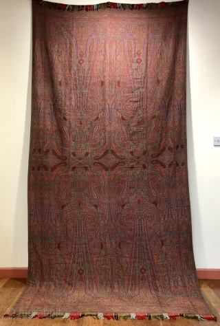 "Antique French jacquard loom woven ""Paisley "" shawl 