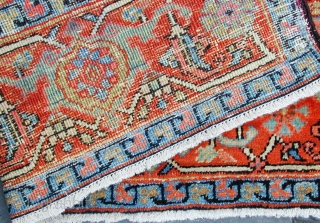 "Super late 19C Heriz rug size 80 "" by 54 "".
