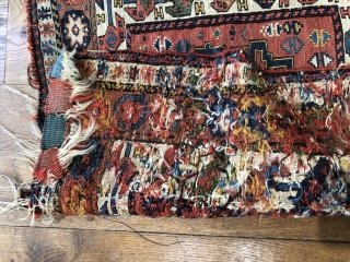 Lovely antique Shahsavan sumac bag ca 1860 Size 68 x 60 cm. all wool and I unusually diverse palette of  Soft early natural dyes. Ex Ned Long Collection USA Good condition for age