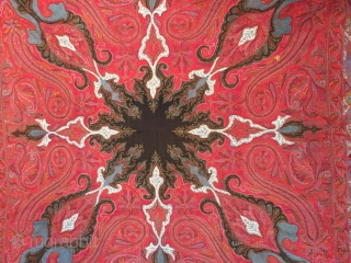 Antique Kashmir shawl  with great colour ca 1860 ex Valentine museum collection US Size 6 feet square (183 x 183 cm). Condition good and clean one tiny slit to centre and one  ...