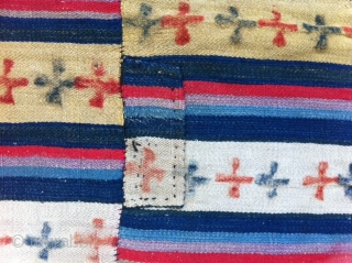 An old woven blanket for Woman from Tibet. Made in Stripes (10 pieces) needled together. Some repair, you can see on the fotos. At all very good condition and beautiful colores.  Big size 2,15m  ...