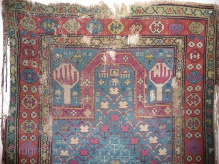 SOLD Very pretty 19th cent. caucasian prayer rug, old repairs, splits,needs washing and mounting.