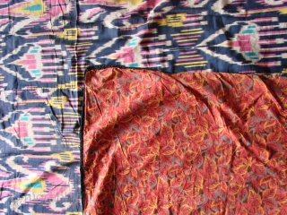 Russian Tradecloth. Early 20th Century.  Nice Ikat print and funky backing.