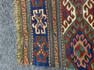 "Antique Azeri soumak  Size: 60x52 cm          2'x1'9"" feet"