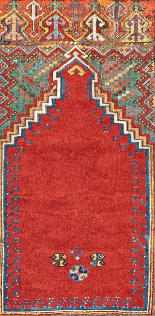 Lot 14, Mudjur Prayer Rug, 5 ft. 1 in. x 3 ft. 10 in., Turkey, ca. 1870, condition: good, ends restored, some repairs and reweavings, Warp: wool, weft: wool, pile: wool, Provenance:  ...