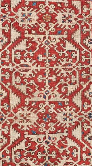 Lot 40, Lotto, 5 ft. x 4 ft., Turkey, 17th century, Condition: good according to age, low pile, upper, end partly restored, some small repairs and reweavings,  Warp: wool, weft: wool, pile:  ...
