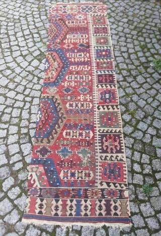 """West Anatolian Aydın Kilim 10""""x2'10 / 300x85 cm"""