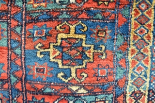 "Quchan Kurd rug. Great colors and shaggy, luscious pile. 7'6"" x 3'8""."