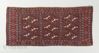 """A lovely yomut torba in very good condition. Recently acquired. Great color and rare secondary gols. Mid 19th century. 3'8"""" x 1'8"""".  Please visit our website for more rare woven art : www.bbolour.com"""