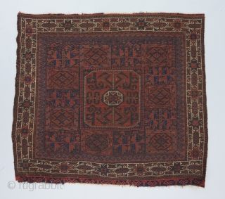 "Crisply drawn Baluch bagface. 3'1"" x 2'7'. Good condition and almost all original except for a few tiny old patch repairs. 