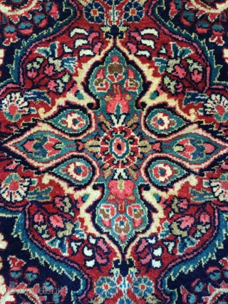 """Superb 1930s Jozan Sarouk in lush full pile. Sublime colors throughout. Size is 4'5"""" x 6'10"""". Soft, dense wool pile with original sides and ends. Some small damages/repairs to the back, but  ..."""