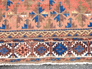 """Old  Beluch  Old Beluch Rug Circa 1900 and seiz is  38""""x71"""" THIS RUG HAS A NICE ABRUSH IN MIDDLE FELID.Excellent condition All natural"""