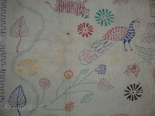 Antique Indian Kantha Embroidery Quilt. From the West Bengal region of India. 65 x 45 inches. This kantha has it all – horse and rider, butterfly, salamander, ox, peacock,flowers. Playful kinetic design.  ...