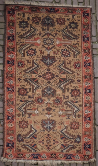 Unusual small camel ground rug, probaly Kurdish, with human figures and lots of animals, natural exceptional colours with a rare light green, good condition, sides secured, handwashed
