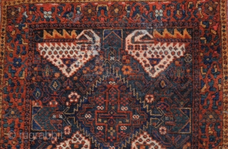 pretty rare Afshar bag face. The design of the blue-ground bag faces consists of four white stylised animals arranged around a central serrated diamond. The closure band is woven in sumakh technique.  ...