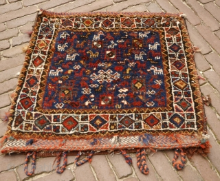 Qashqai bag with lots of animals in excellent condition, natural colors,full pile.