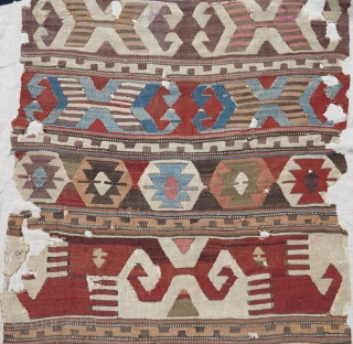 "Old Antique Central Anatolian kilim fragment, mounted and conserved, nice graphics and weave. 33"" x 108"". Traces of purple 'mosque ink'."