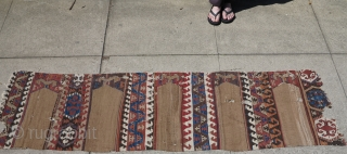 """Central Anatolian kilim with camel ground niches. Probably too narrow to be a saf but gives that impression graphically. 26"""" x 94"""""""