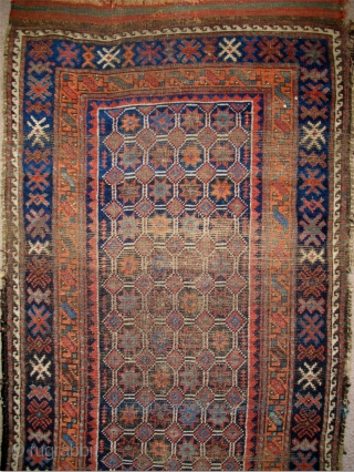 """Baluch Runner, great natural colors, woven like a giant long bagface with a repeat mosaic like pattern of eight-pointed stars in a lattice. """"Arab"""" type, open right, with corroded deep indigo almost  ..."""