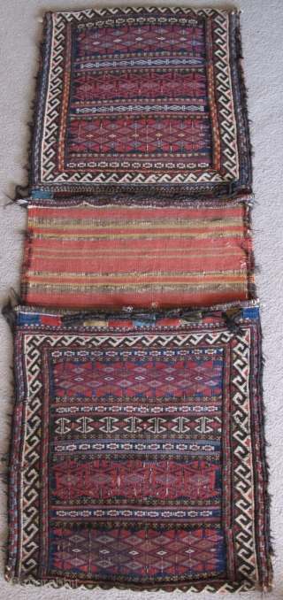 Very Rare, Very Old Complete Khorosan Quchan Kurd? ( or perhaps Khorosan Afshar ? )Double Saddle Bags (Khorjin). Bagfaces are done in bands of colorful floating weft work with wool and goat-hair  ...