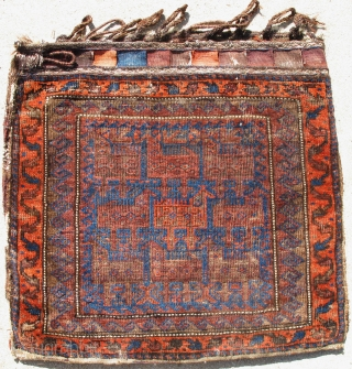 Baluch Bird Bag, Complete with fasteners and kilim back. All natural colors including a madder aubergine and at least two blues including turquoise highlights. Good condition with great soft wool (not brittle)  ...