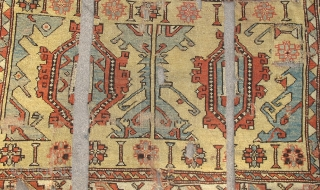 17th century / circa 1700 Bergama area 2-1-2 large pattern Holbein derived carpet.A larger longer format than later 18th century varieties with dynamic and deliberate imagery formed from negative space. Inexplicably cut  ...