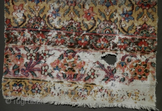 Minakhani fragment, late 18th century / circa 1800. Khorasan jufti knotted type a rare yellow ground. Worn but majestic. Size is 33'x75'