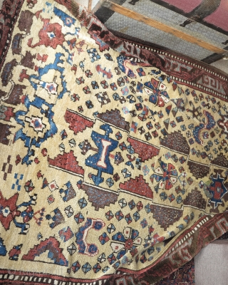 """Large (5'1"""" x 8'3"""" 155x252cm) East Anatolian Yatak with harshang and other ornament (alien cyclopses?)"""