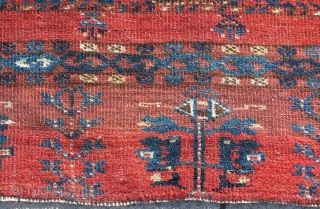 Bashir / Ersari ? Middle Amu Darya bannded chuval, silk highihgts, fragmented at the sides with some vissible old repair. Nice colors, weave, and design.