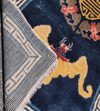 "Chinese rug with bats and 'shòu' symbol 壽 . Very soft wool pile. Probably Beijing early 20th century - 1920s. Tres chic. 3'8""x5'. Small area of bottom right corner in the field  ..."