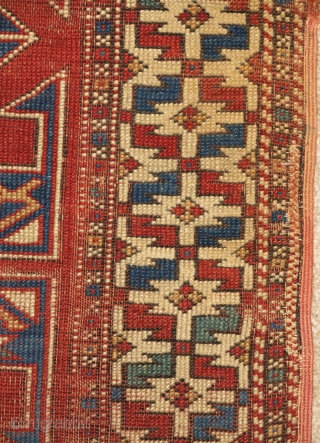 """Small format Bergama area Turkish rug with an intriguing design related to both sumaks and some yastiks. Squarish shape and nicely drawn with good color. About 38""""×42"""". Worn but very readable. Two-tones  ..."""