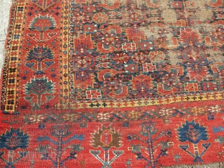 Super colorful Bashir Central Asian / Middle Amu Darya area carpet. older than most. Worn but more or less complete with an elem on one end and a border on the other.  ...