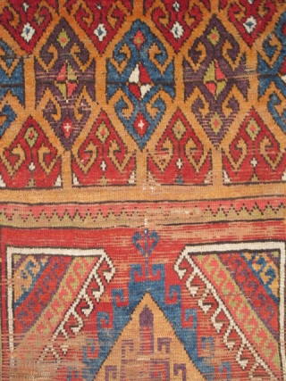 "Central Anatolian Rug Fragment, circa 1800, with vibrant and multiple colors. Bold geometry and exceptional proportions. (5'3"" x 3'1"" / 160x94cm)"