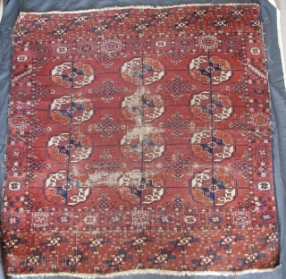 "Tekke Square Mat, large guls, great elem, intriguing borders, fine handle, very old. (4'1""x4'2"" 123x125cm)"