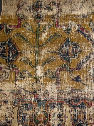 """17th century Yellow-Ground Classical Fragment with Magnificent Flowering Plants. most likely Indian or Safavid Eastern Persian. (52""""x44"""" / 132x112cm) There is obvious wear which is magnified in these images."""