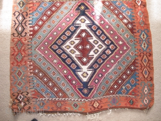 Very long antique Reyhanli kilim from Eastern Anatolia. Older than most with a very good color range and saturation including a great ox-blood maroon, two greens two oranges, at least three blues,  ...